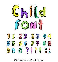 Kids cartoon colorful numbers