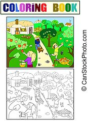 Kids cartoon on the theme of harvest vector coloring