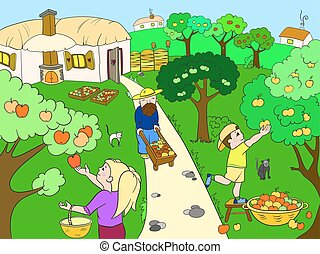 Kids cartoon on the theme of harvest vector