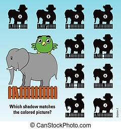 Kids cartoon puzzle shadows