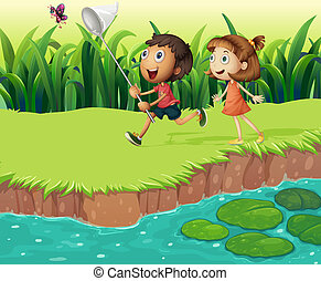 Kids catching butterflies - Illustration of the kids...