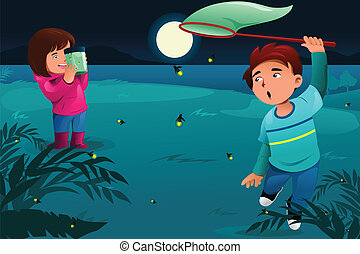 Kids catching fireflies - A vector illustration of happy...