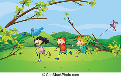 Kids catching the butterflies - Illustration of kids...