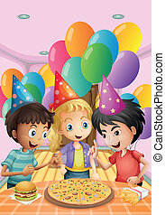 Kids celebrating a birthday with a pizza, burger and fries -...
