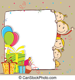 Kids Celebrating Birthday - illustration of kids peeping...