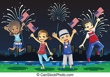 Kids celebrating Fourth of July - A vector illustration of...