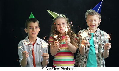 Kids Celebrating - Group of kids enjoying celebration, slow-...