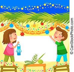 celebrating Sukkot - kids celebrating Sukkot in a decorated...