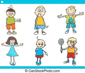kids characters cartoon set