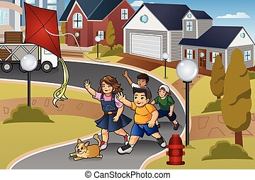 Kids Chasing a Lost Kite - A vector illustration of kids ...