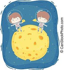 Kids Cheese Moon Illustration