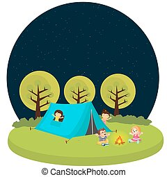 kids children camping tent outdoor fun activity fire camp