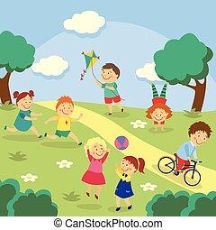 Kids, children playing in yard, garden, park