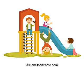 Kids children playing on playground vector cartoon