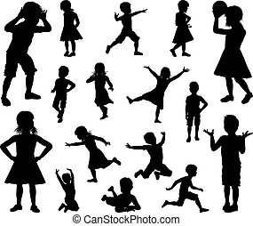 Kids Children Silhouette Set