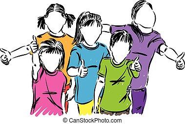 kids children thumbs up vector illustration