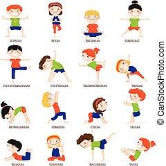 Kids Children Yoga Poses Cartoon Set. - Cute children boys...