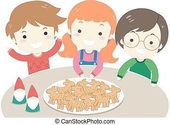 Kids Christmas Yule Goat Ginger Bread Illustration -...