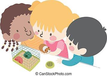 Kids Classroom Pet Illustration