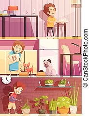 Kids Cleaning Cartoon Banners Set