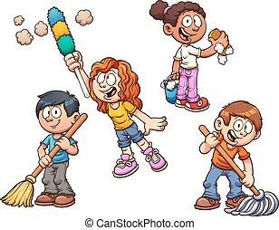 Kids cleaning - Cartoon kids cleaning up. Vector clip art ...