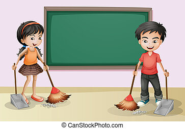 Kids cleaning near the empty board - Illustration of the...