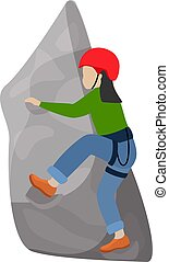 Kids climbing vector climber children character climbs rock mountain wall or mountainous cliff illustration mountaineering set of child in extreme sport mountaineer isolated on white background