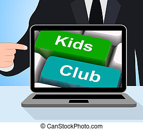 Kids Club Computer Mean Childrens Playing And Entertainment