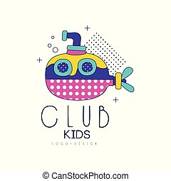 Kids club logo design, label for development, educational or sport center vector Illustration on a white background