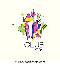 Kids club logo, label for development, educational or sport center vector Illustration on a white background