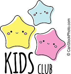 Kids club logo template. Three cute stars. Sign, label for children design