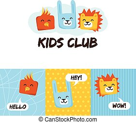 Kids club logo with animals. Cute kindergarten and language school sign.