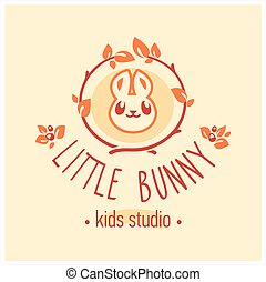 Kids club logo with bunny. Cute kindergarten sign.