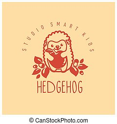Kids club logo with hedgehog. Cute kindergarten sign.