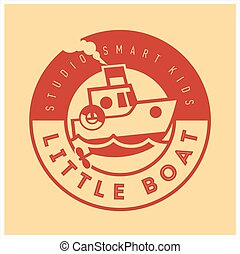 Kids club logo with little boat. Cute kindergarten sign.