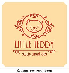 Kids club logo with teddy bear. Cute kindergarten sign.