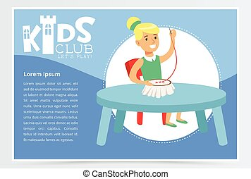 Kids club poster with cute girl character sitting at the...