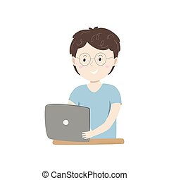 Kids coding. Small happy boy holding his tablet. Vector ilustration
