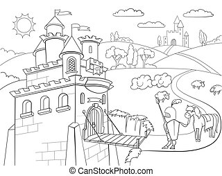 Kids Coloring cartoon knightly castle vector Zentangle...