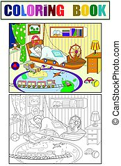 kids coloring on the theme of childhood room