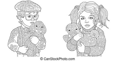 Kids Coloring Pages Coloring Pages Coloring Book For Adults Colouring Pictures With Boy And Girl Holding Cat And Dog Drawn Canstock