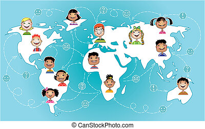 Kids connected worldwide - Vector illustration of children ...