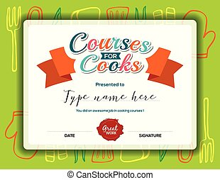 Kids Cooking courses certificate template