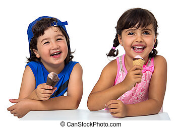 Kid,s couple with ice cream - Little boy and girl eating an...