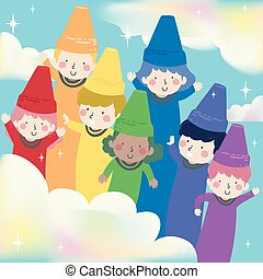 Kids Crayons Rainbow Illustration
