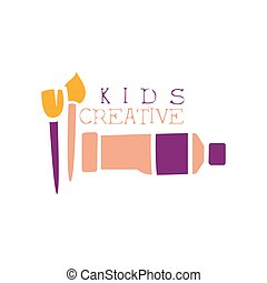 Kids Creative Class Template Promotional Logo With Oil Paint...