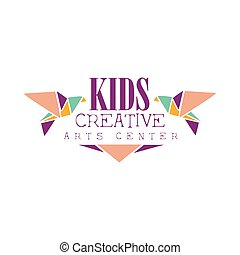 Kids Creative Class Template Promotional Logo With Origami...