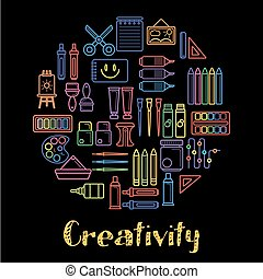 Kids creativity and children art design poster of painting tools, paint brush and pencil or felt tip pen.