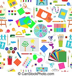 Kids creativity creation symbols artistic objects for children creativity handmade work art vector illustration seamless pattern background