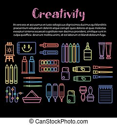 Kids creativity poster of art and drawing tools for children...